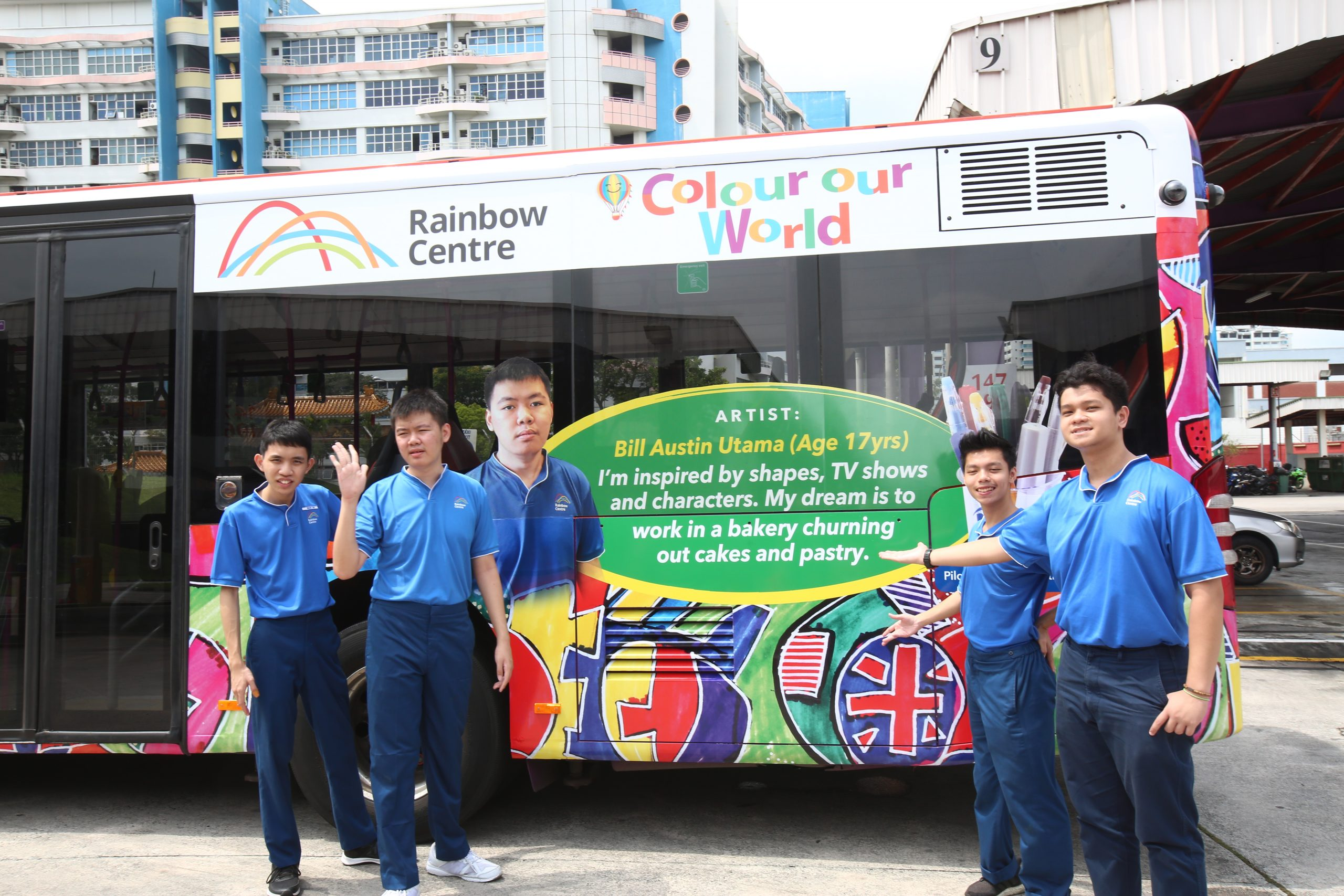 Artworks by Artability apprentices were featured on public buses as part of Rainbow Centre's collaboration with Pilot.