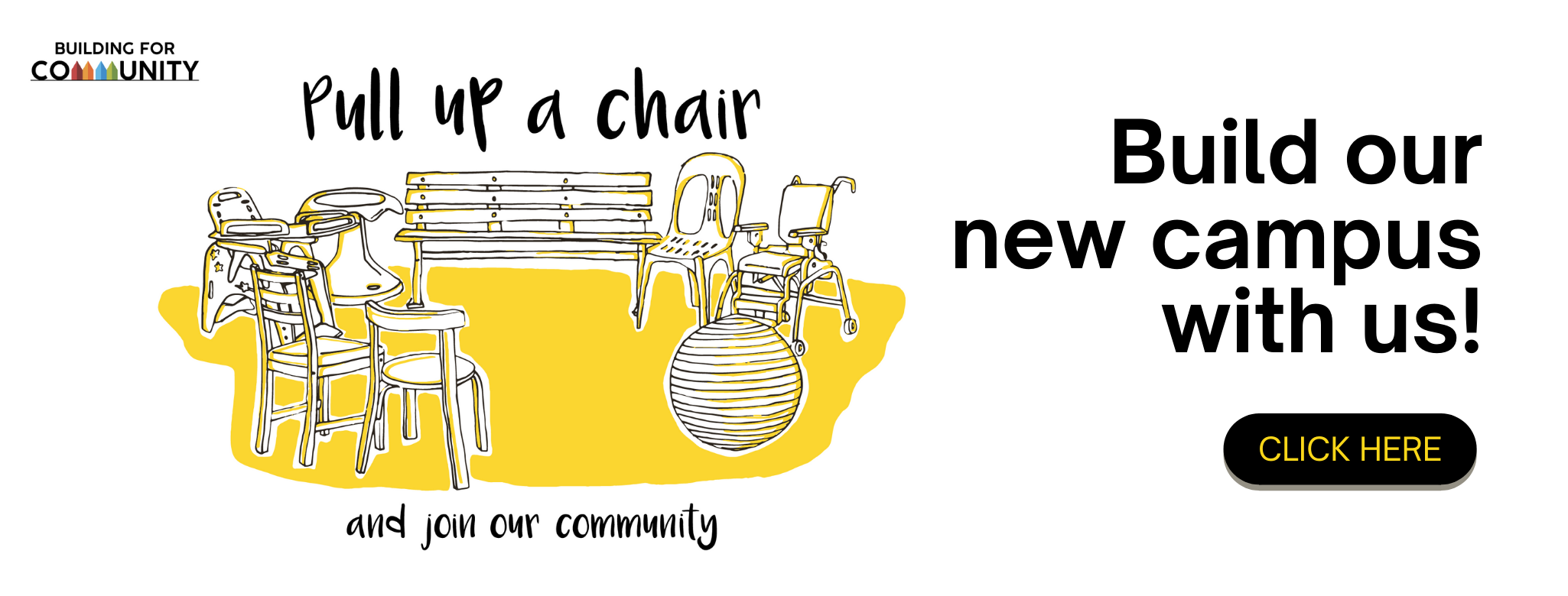 Chairs for Community banner