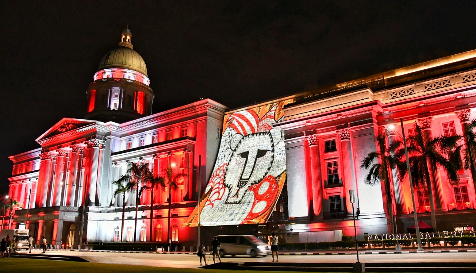 Naufal's artwork projected onto the facade of the National Gallery.