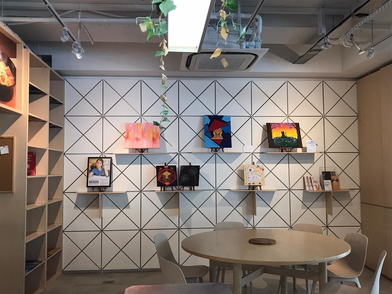 Artworks on sale at Seeds Cafe.